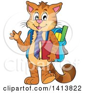 Clipart Of A Cat Student Waving Royalty Free Vector Illustration by visekart