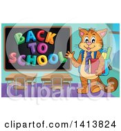Clipart Of A Cat Student Waving By A Back To School Black Board Royalty Free Vector Illustration