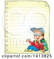 Clipart Of A Sheed Of Ruled School Paper With A Waving School Boy Royalty Free Vector Illustration