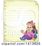 Clipart Of A Sheed Of Ruled School Paper With A Waving School Girl Royalty Free Vector Illustration