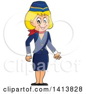 Happy Caucasian Female Flight Attendant
