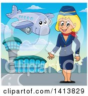 Clipart Of A Happy Caucasian Female Flight Attendant At An Airport Royalty Free Vector Illustration