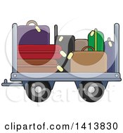 Clipart Of An Airport Luggage Cart Royalty Free Vector Illustration by visekart