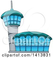 Clipart Of An Airport Building Royalty Free Vector Illustration by visekart