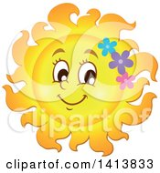 Happy Spring Time Sun Character With Flowers
