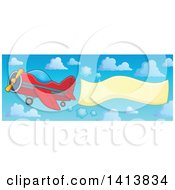 Red Airplane With A Trailing Banner