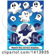 Clipart Of A Matching Game With Ghosts Royalty Free Vector Illustration