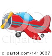 Clipart Of A Cartoon Red Airplane Royalty Free Vector Illustration