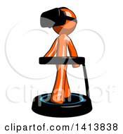 Orange Man Wearing A Headset And Walking On A Treadmill