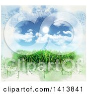 Clipart Of 3d Green Grass Under A Blue Sky With The Sun And Clouds Bordered In Grunge Royalty Free Illustration