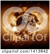 Clipart Of A 3d Stormy Planet Royalty Free Illustration