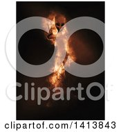 Clipart Of A 3d Alien Being Appearing In Flames Royalty Free Illustration