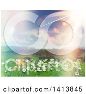 Clipart Of A 3d Grassy Hill With Daisies And Grass With Flares Royalty Free Illustration by KJ Pargeter