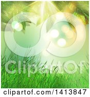 Clipart Of A Background Of Grass And Leaves Against Green Bokeh Royalty Free Illustration