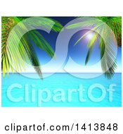 Clipart Of 3d Palm Trees Framing Blue Ocean And Horizon Royalty Free Illustration by KJ Pargeter