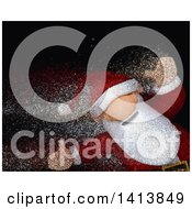 Clipart Of A 3d Christmas Santa Claus With Magical Glitter Effect Royalty Free Illustration