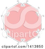 Clipart Of A Retro Pink And Gray Frame Design Element Royalty Free Vector Illustration