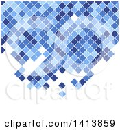 Clipart Of A Background Of Blue Mosaic Pixels Or Tiles On White Royalty Free Vector Illustration