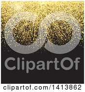Clipart Of A Golden Glittery Burst On Black Royalty Free Vector Illustration by KJ Pargeter