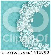 Clipart Of A Blue White And Turquoise Damask Floral Wedding Invitation Background Royalty Free Vector Illustration