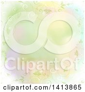 Clipart Of A Pastel Watercolor Background With A Border Of Floral Vines Royalty Free Vector Illustration