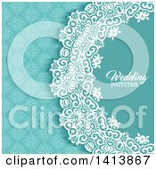 Clipart Of A Blue White And Turquoise Damask Floral Wedding Invitation Background With Text Royalty Free Vector Illustration