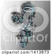 Clipart Of A Grungy Painted Robot Royalty Free Illustration