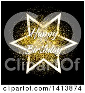 Happy Birthday Greeting And Star Over Gold Confetti On Black