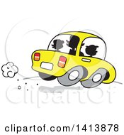 Clipart Of A Silhouetted Busy Mom On The Road With Her Two Kids In The Car Royalty Free Vector Illustration