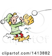 Clipart Of A Cartoon Christmas Elf Playing Catch Royalty Free Vector Illustration by Johnny Sajem