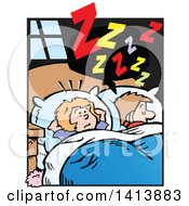 Clipart Of A Cartoon Annoyed Caucasian Wife Wide Awake From Her Husbands Snoring Royalty Free Vector Illustration by Johnny Sajem