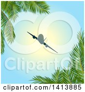 Clipart Of A Silhouetted Airplane Framed With Palm Trees Royalty Free Vector Illustration