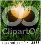 Clipart Of A Border Of Palm Tree Branches Framing A Full Moon And Night Sky Royalty Free Vector Illustration
