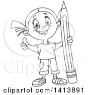 Cartoon Black And White Lineart School Girl Giving A Thumb Up And Holding A Giant Pencil