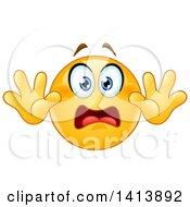 Cartoon Yellow Smiley Face Emoji Emoticon Surrendering In Fear
