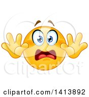 Clipart Of A Cartoon Yellow Smiley Face Emoji Emoticon Surrendering In Fear Royalty Free Vector Illustration