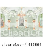 Clipart Of A Green Toned Palace Interior With Paintings And A Chandelier Royalty Free Vector Illustration