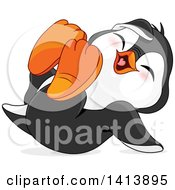 Clipart Of A Cute Baby Penguin Rolling On The Floor And Laughing Royalty Free Vector Illustration by Pushkin