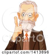 Clipart Of A Senior Male Phycologist Holding Up A Finger Royalty Free Vector Illustration by Pushkin