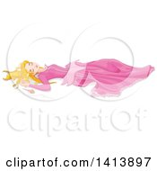 Clipart Of A Princess Sleeping Beauty Laying On The Ground After Pricking Her Finger On The Spindle Royalty Free Vector Illustration by Pushkin