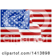 Clipart Of A Silhouetted Transparent Saluting Soldier Over An American Flag With Rays Royalty Free Vector Illustration by AtStockIllustration
