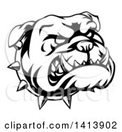 Clipart Of A Black And White Snarling Bulldog Face And Spiked Collar Royalty Free Vector Illustration