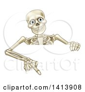 Clipart Of A Cartoon Human Skeleton Pointing Down Over A Sign Royalty Free Vector Illustration by AtStockIllustration