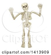 Clipart Of A Cartoon Human Skeleton Holding Up Both Hands Royalty Free Vector Illustration by AtStockIllustration