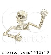Cartoon Human Skeleton Waving And Giving A Thumb Up Over A Sign