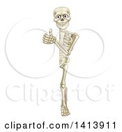Clipart Of A Cartoon Human Skeleton Giving A Thumb Up Around Sign Royalty Free Vector Illustration by AtStockIllustration