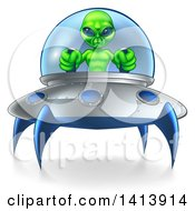 Green Alien Flying A Ufo