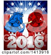 Clipart Of A Political Aggressive Democratic Donkey Or Horse And Republican Elephant Flexing Over A 2016 American Flag And Burst Royalty Free Vector Illustration