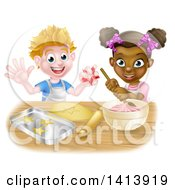 Clipart Of A Happy White Boy Making Making Star Cookies And Black Girl Making Frosting Royalty Free Vector Illustration
