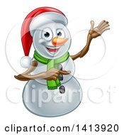 Happy Snowman Wearing A Christmas Santa Hat And Pointing
